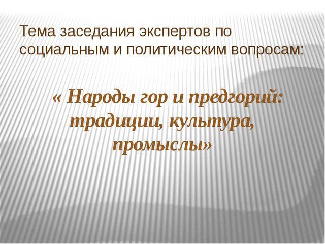 Тема заседания экспертов по социальным и политическим вопросам: « Народы гор...