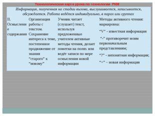 Технологическая карта урока по технологии РКМ Информация, полученная на стад