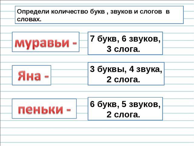 Определи количество букв , звуков и слогов в словах. 7 букв, 6 звуков, 3 слог...
