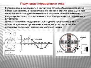 Получение переменного тока Если проводник А вращать в магнитном потоке, образ