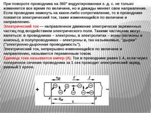 При повороте проводника на 360° индуктированная э. д. с. не только изменяется