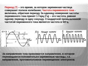 Период (Т) – это время, за которое заряженная частица совершает полное колеба