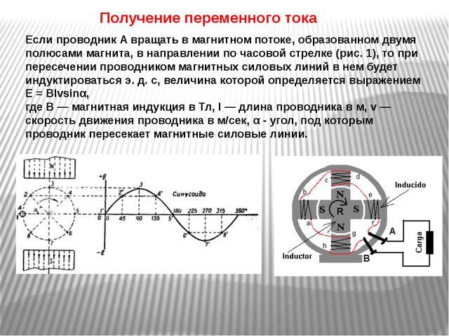 Получение переменного тока Если проводник А вращать в магнитном потоке, образ...