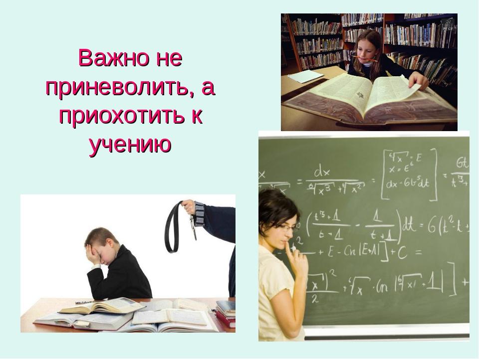 Важно не приневолить, а приохотить к учению