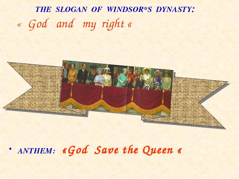 THE SLOGAN OF WINDSOR*S DYNASTY: « God and my right « ANTHEM: «God Save the...