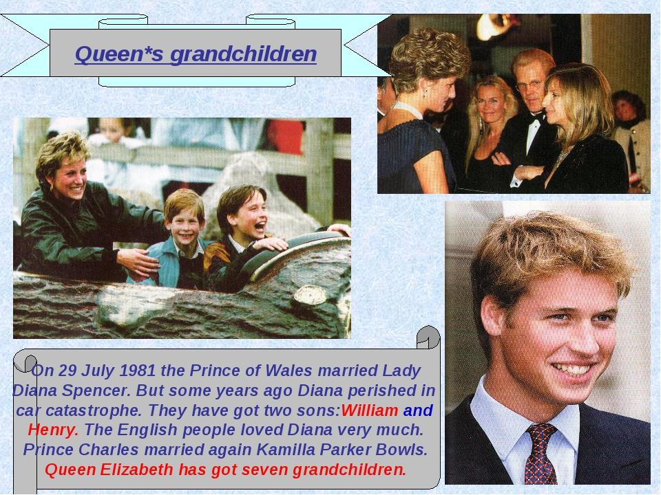 Queen*s grandchildren On 29 July 1981 the Prince of Wales married Lady Diana...