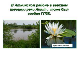 В Атнинском районе в верхнем течении реки Ашит , тоже был создан ГПЗК. Кувшин