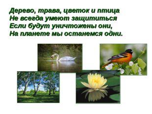 Дерево, трава, цветок и птица Не всегда умеют защититься Если будут уничтожен