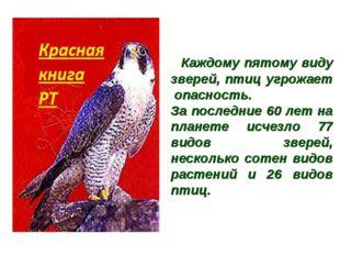 Каждому пятому виду зверей, птиц угрожает опасность. За последние 60 лет на