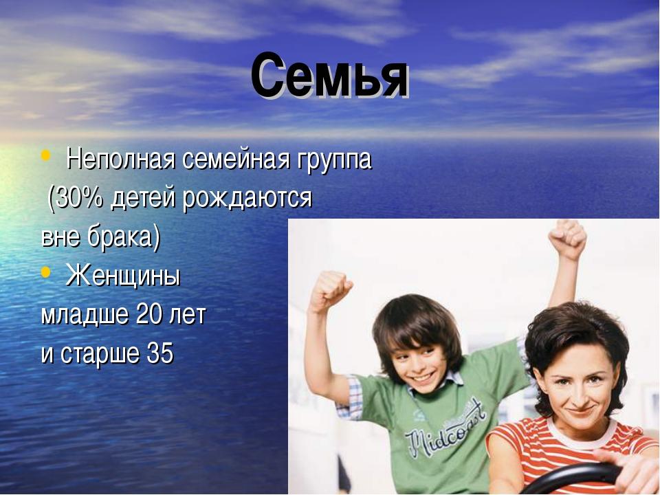 Семья Неполная семейная группа (30% детей рождаются вне брака) Женщины младше...