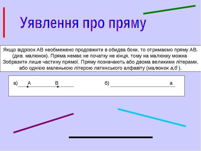 Якщо відрізок АВ необмежено продовжити в обидва боки, то отримаємо пряму АВ....