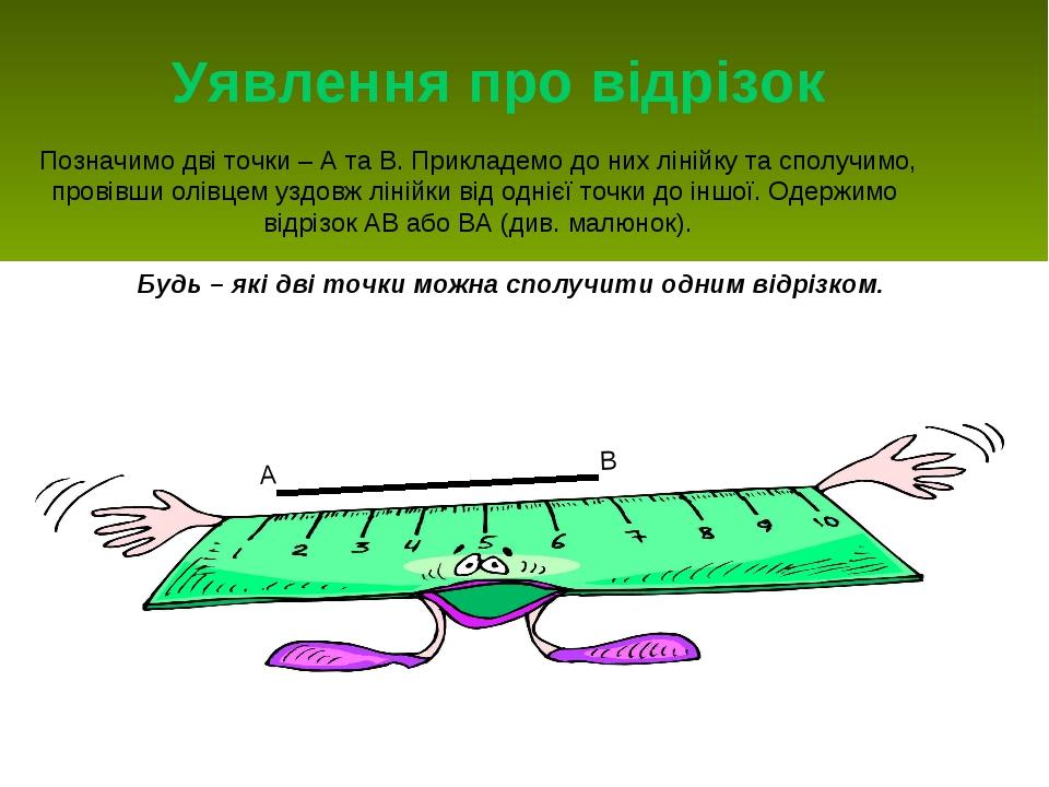 Уявлення про відрізок Позначимо дві точки – А та В. Прикладемо до них лінійку...