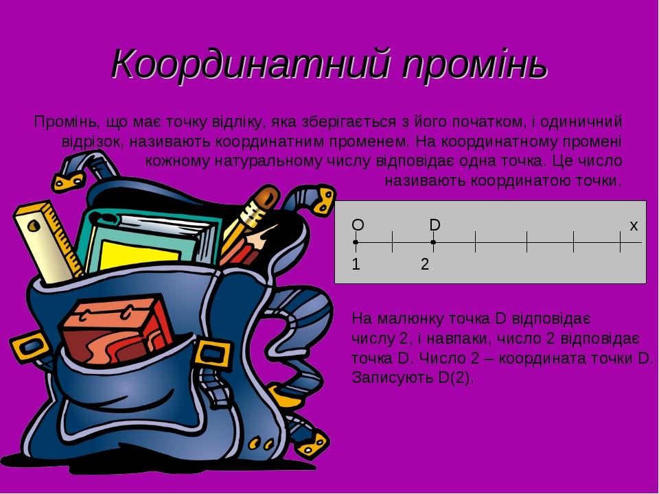Координатний промінь Промінь, що має точку відліку, яка зберігається з його п...