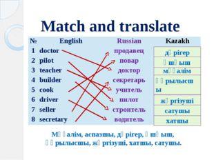 Match and translate Мұғалім, аспазшы, дәрігер, ұшқыш, құрылысшы, жүргізуші, х