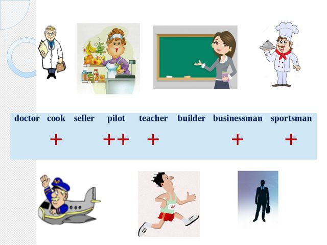 doctor cook seller pilot teacher builder businessman sportsman + ++ + + +