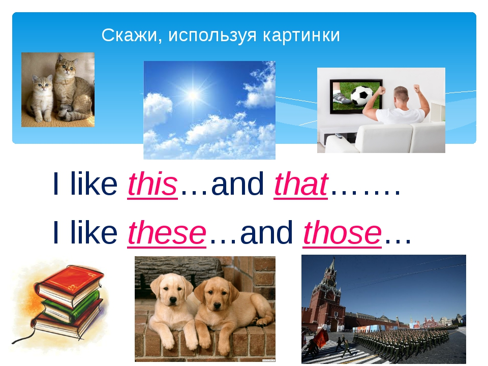 I like this…and that……. I like these…and those… Скажи, используя картинки