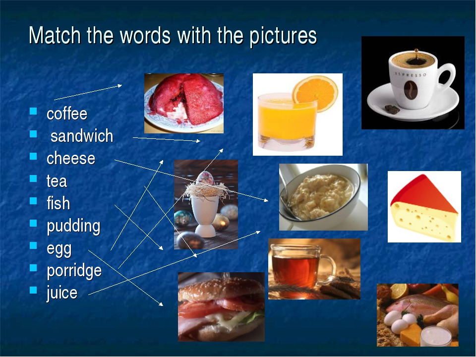 Match the words with the pictures coffee sandwich cheese tea fish pudding egg...