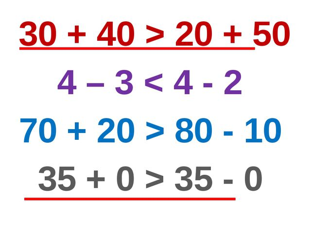 30 + 40 > 20 + 50 4 – 3 < 4 - 2 70 + 20 > 80 - 10 35 + 0 > 35 - 0