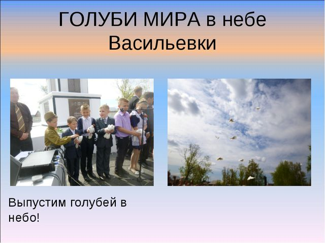 ГОЛУБИ МИРА в небе Васильевки Выпустим голубей в небо!