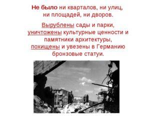 Не было ни кварталов, ни улиц, ни площадей, ни дворов. Вырублены сады и парки