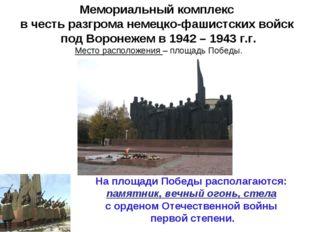 На площади Победы располагаются: памятник, вечный огонь, стела с орденом Отеч