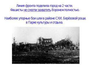 Линия фронта поделила город на 2 части. Фашисты не смогли захватить Воронеж п