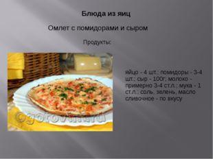 Блюда из яиц Омлет с помидорами и сыром яйцо - 4 шт.; помидоры - 3-4 шт.; сы