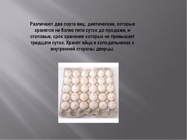Различают два сорта яиц: диетические, которые хранятся не более пяти суток до...