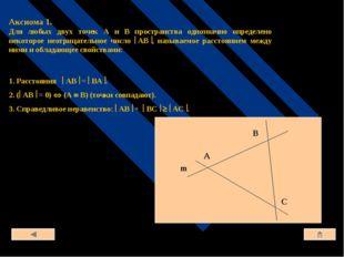 m Аксиома 1. Для любых двух точек А и В пространства однозначно определено не
