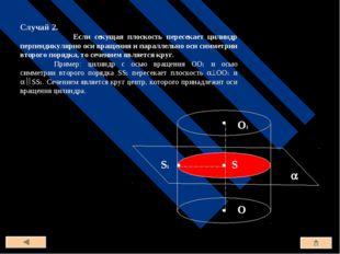 Случай 2. Если секущая плоскость пересекает цилиндр перпендикулярно оси враще