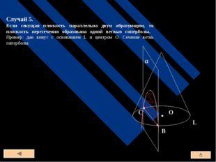 Случай 5. Если секущая плоскость параллельна двум образующим, то плоскость пе