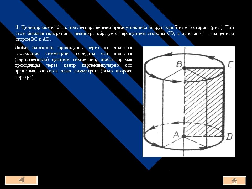 3. Цилиндр может быть получен вращением прямоугольника вокруг одной из его ст...