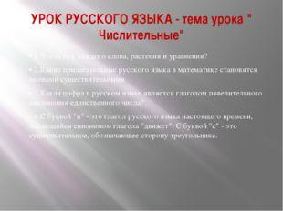 """УРОК РУССКОГО ЯЗЫКА - тема урока """" Числительные"""" • 1.Что есть у каждого слова"""