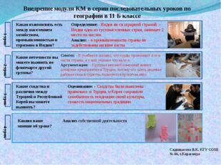Садвакасова В.К. КГУ СОШ № 66, г.Караганда Внедрение модуля КМ в серии послед