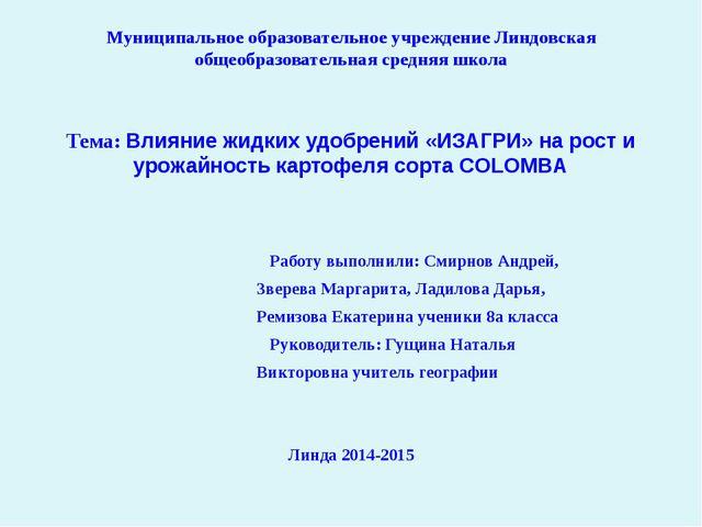 Муниципальное образовательное учреждение Линдовская общеобразовательная средн...