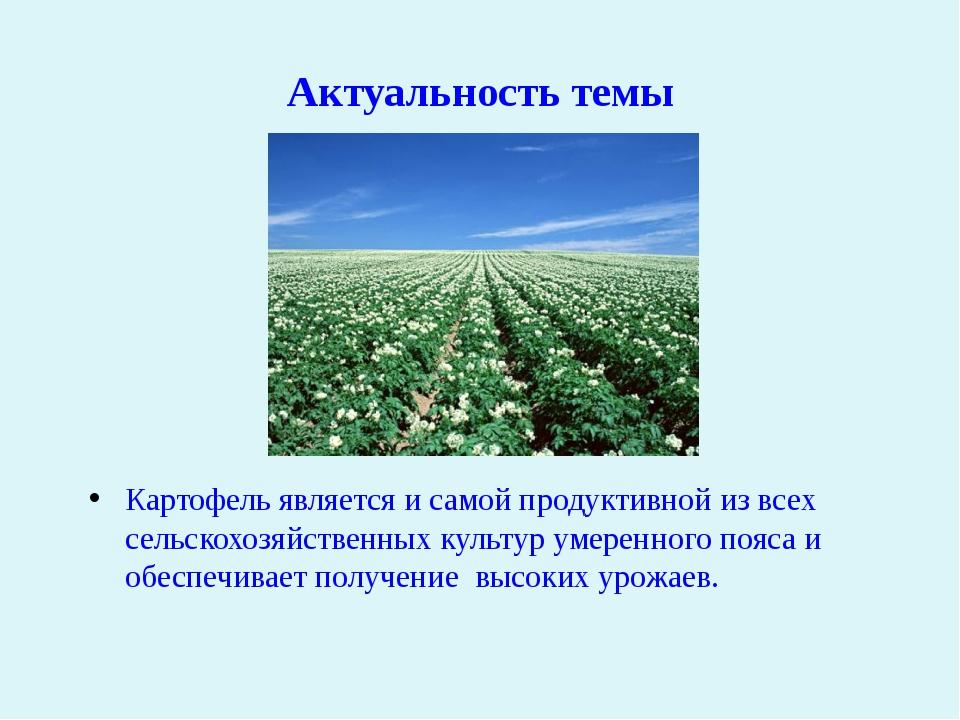 Актуальность темы Картофель является и самой продуктивной из всех сельскохозя...
