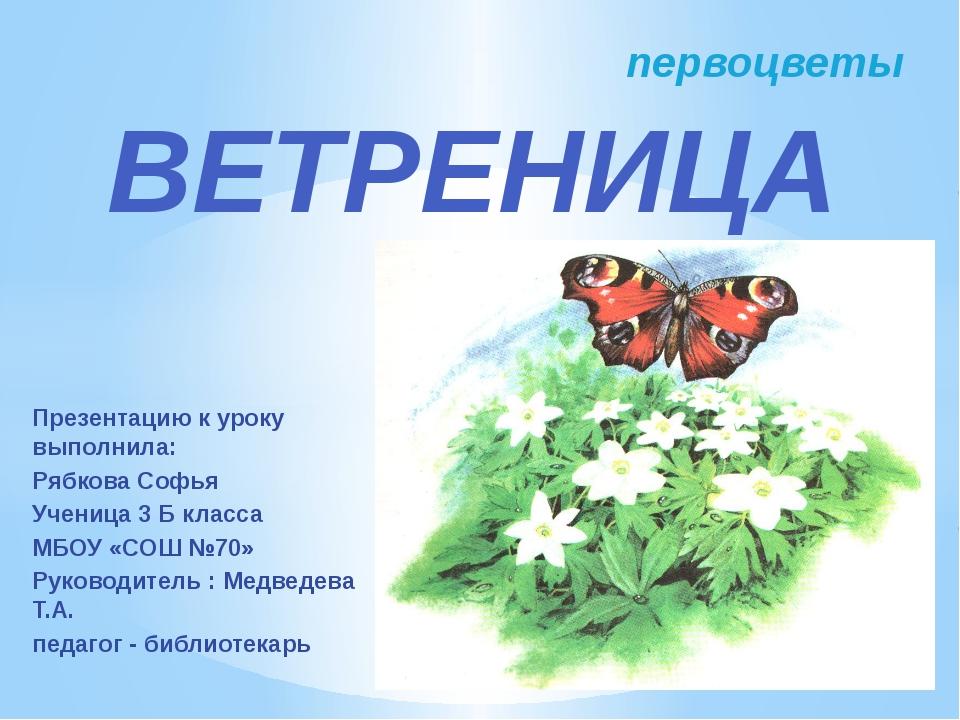 Презентацию к уроку выполнила: Рябкова Софья Ученица 3 Б класса МБОУ «СОШ №70...