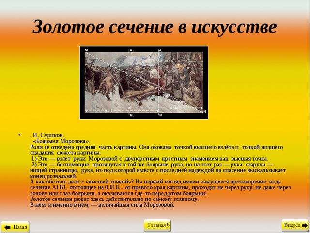 Золотое сечение в искусстве . И. Суриков.  «Боярыня Морозова». Роли ее отвед...