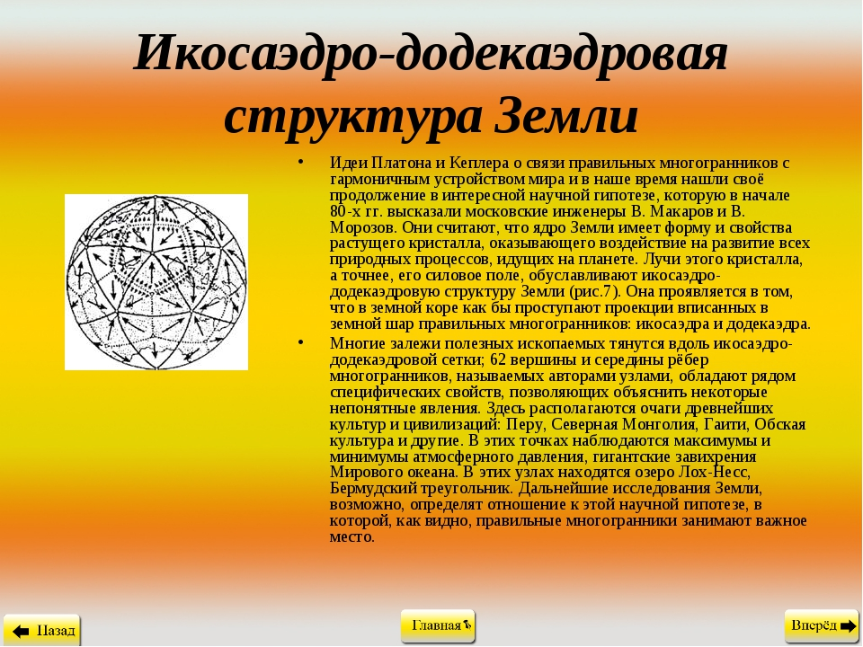 Икосаэдро-додекаэдровая структура Земли Идеи Платона и Кеплера о связи правил...