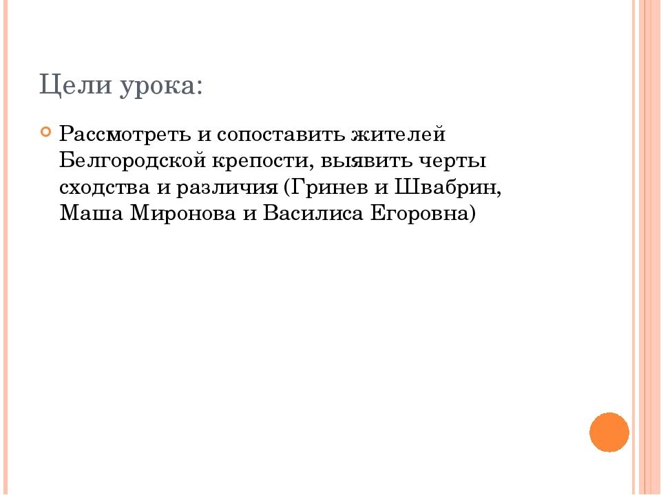 Цели урока: Рассмотреть и сопоставить жителей Белгородской крепости, выявить...