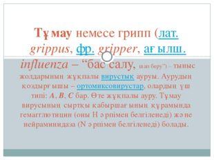 """Тұмаунемесе грипп (лат.grіppus,фр.grіpper,ағылш.influenza– """"бас салу,"""