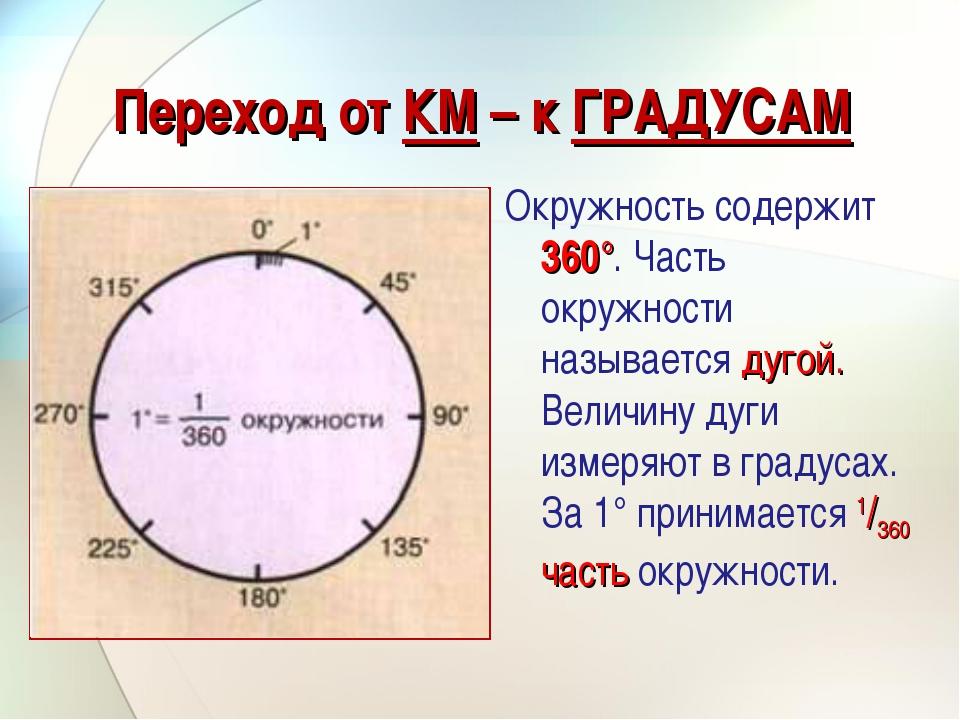 Переход от КМ – к ГРАДУСАМ Окружность содержит 360°. Часть окружности называе...