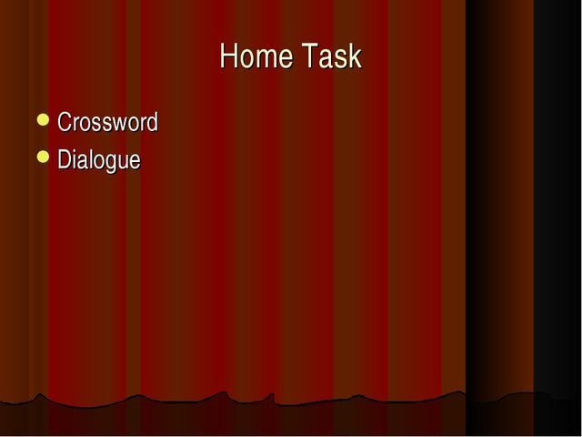 Home Task Crossword Dialogue