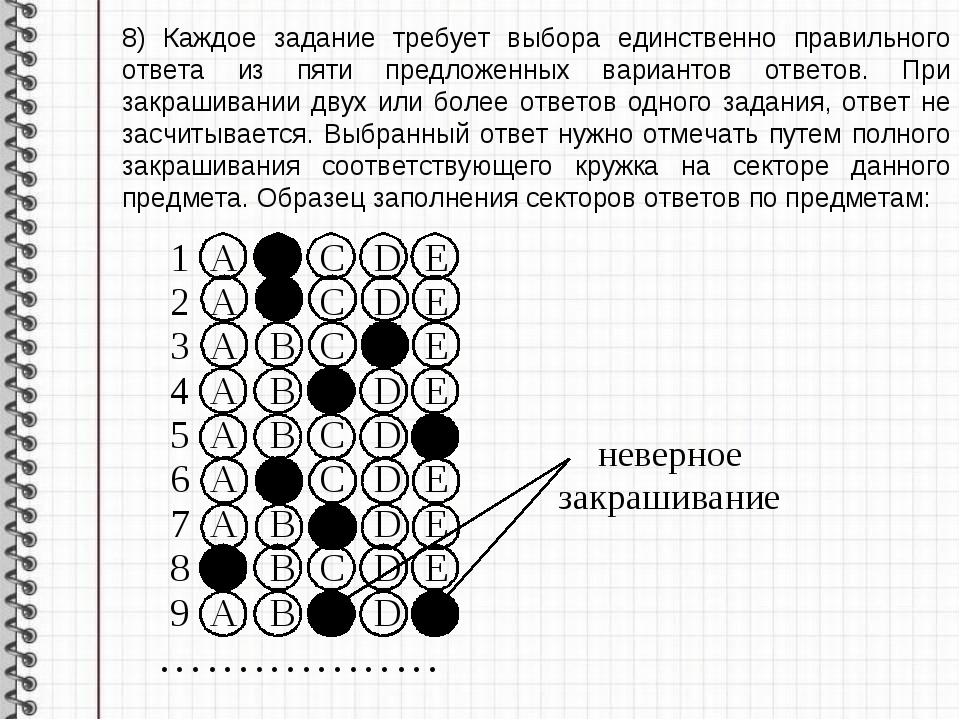 8) Каждое задание требует выбора единственно правильного ответа из пяти предл...