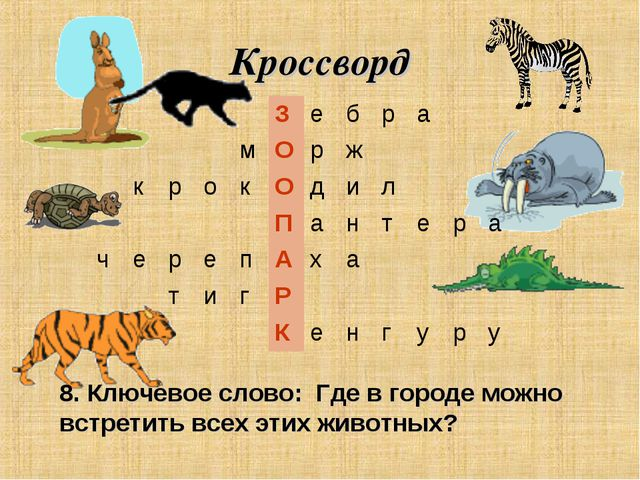 Кроссворд 8. Ключевое слово: Где в городе можно встретить всех этих животных?