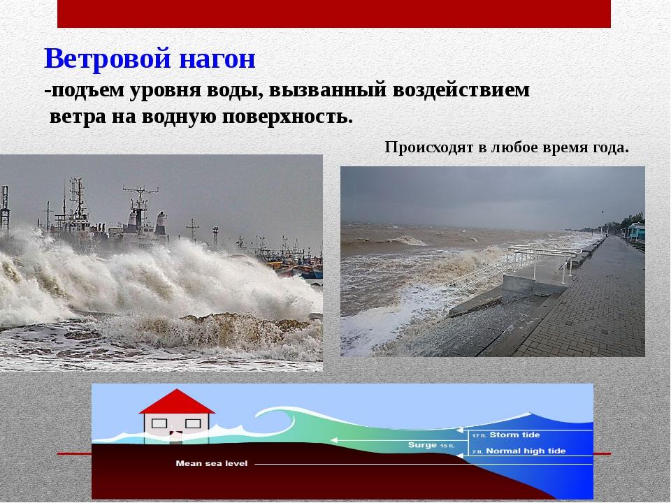 Ветровой нагон -подъем уровня воды, вызванный воздействием ветра на водную по...