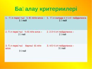 Бағалау критериилері Гүл парақтың ¼ бөлігін алса – 1 ұпай Гүл салуда 1 түсті