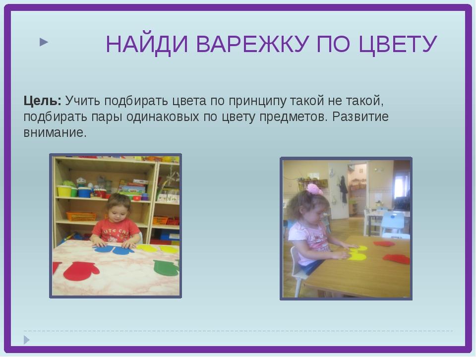 Цель: Учить подбирать цвета по принципу такой не такой, подбирать пары одина...