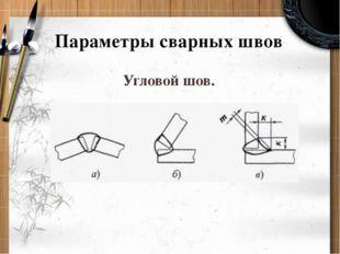 Параметры сварных швов Угловой шов.