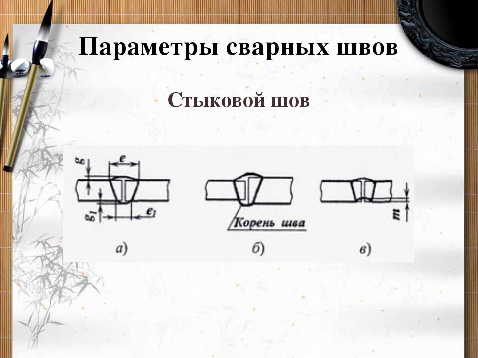 Параметры сварных швов Стыковой шов